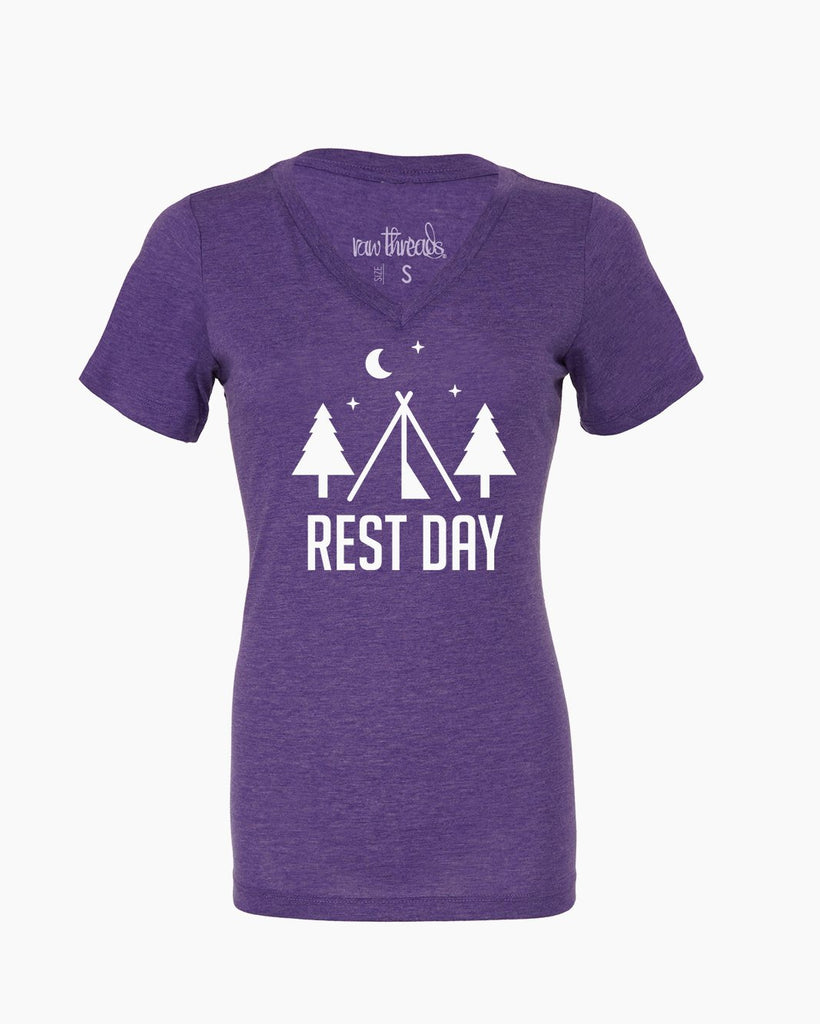 Camping on Rest Day Relaxed V-Neck
