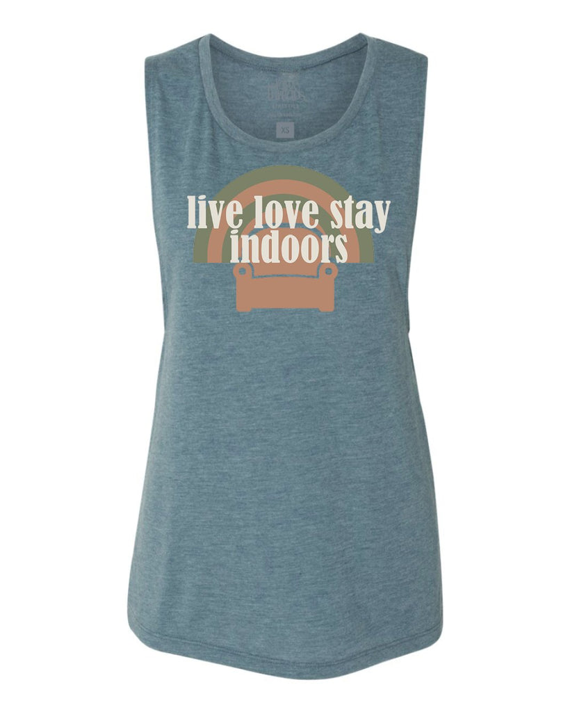 Live Love Stay Indoors (couch) Flowy Scoop Tank