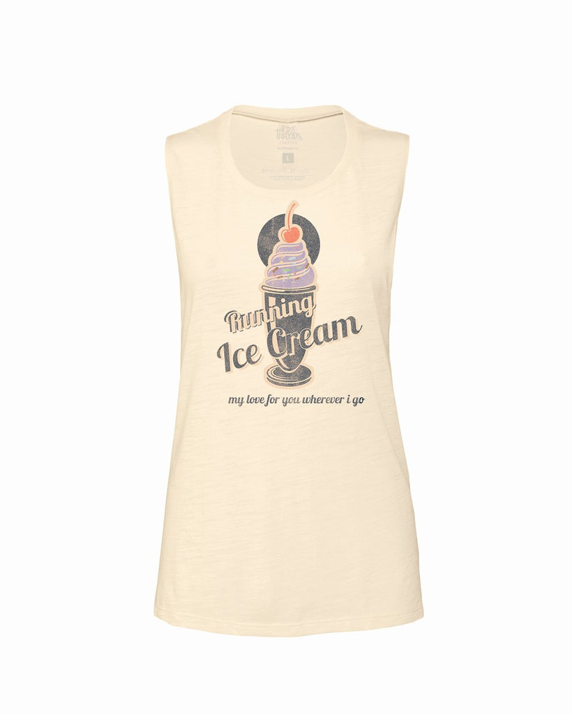RUNNING ICE CREAM my love for you wherever I go Flowy Scoop Tank