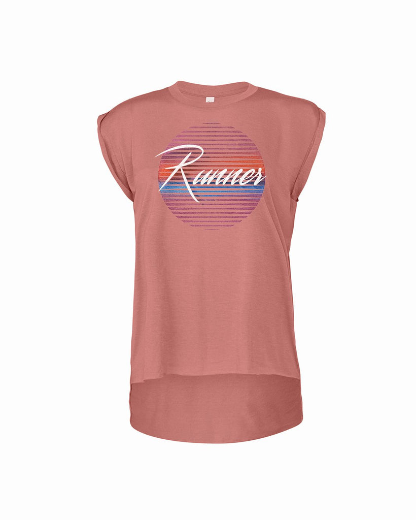 80's Runner (Sun) Flowy Muscle Tee with Rolled Cuff