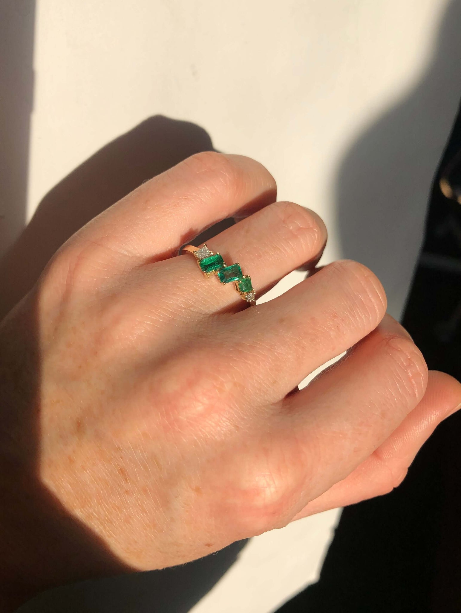 Asymmetric Ring - Emeralds & Diamonds