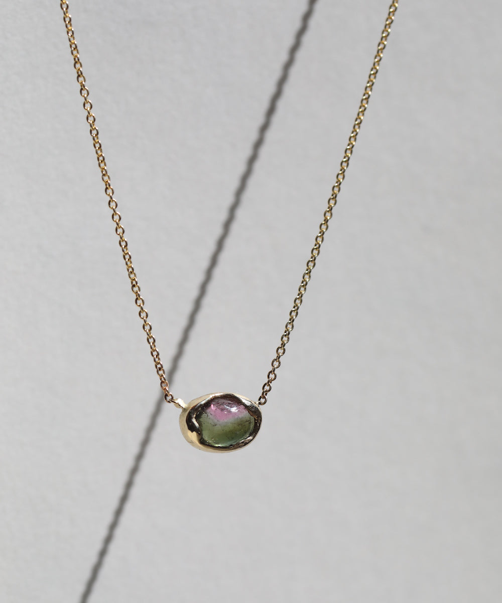 Tourmaline Bubble Necklace in Moss/Pink