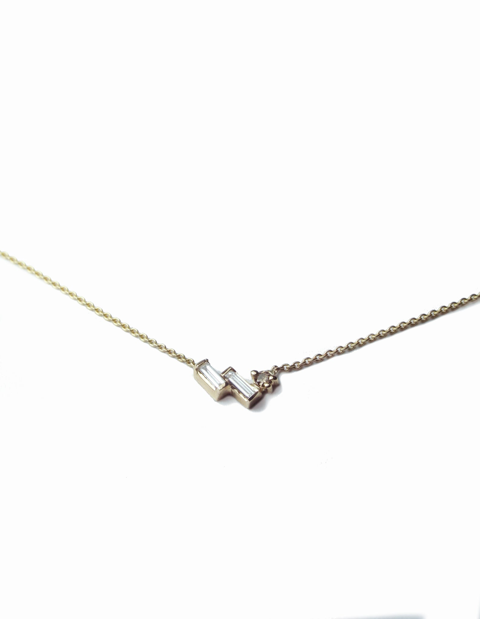 Asymmetric Baguette Diamond Necklace, Necklace, Macha Studio, Brooklyn NYC