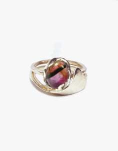 Bi-color Tourmaline Cab ring set