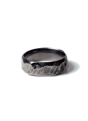 Black Ragged Wedding Band with black diamonds