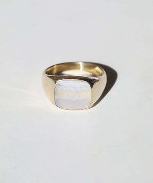 Blue Agate Signet Ring