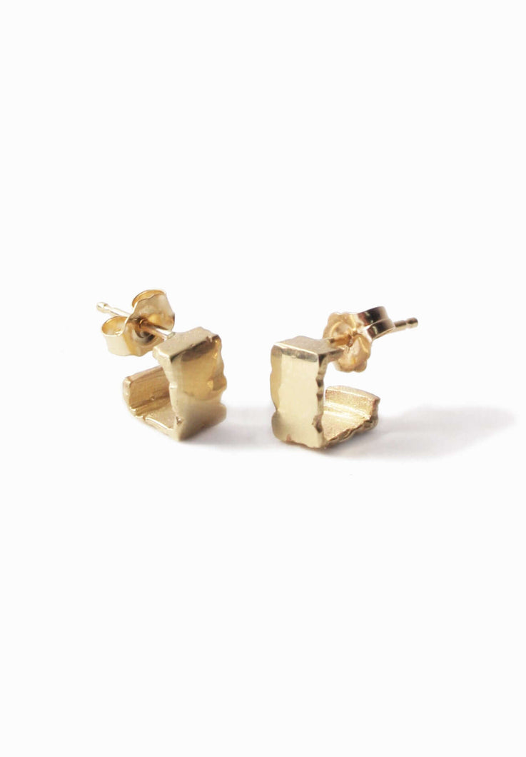 Solid Gold Textured Handcrafted Earrings