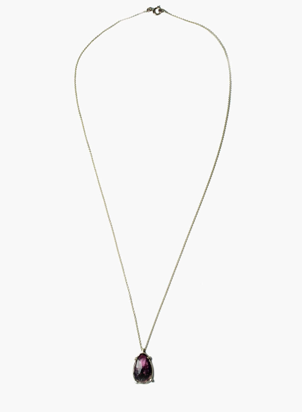 Thin Gold Chain Necklace with a Black and Cerise Organically Shaped Tourmaline Stone Slice