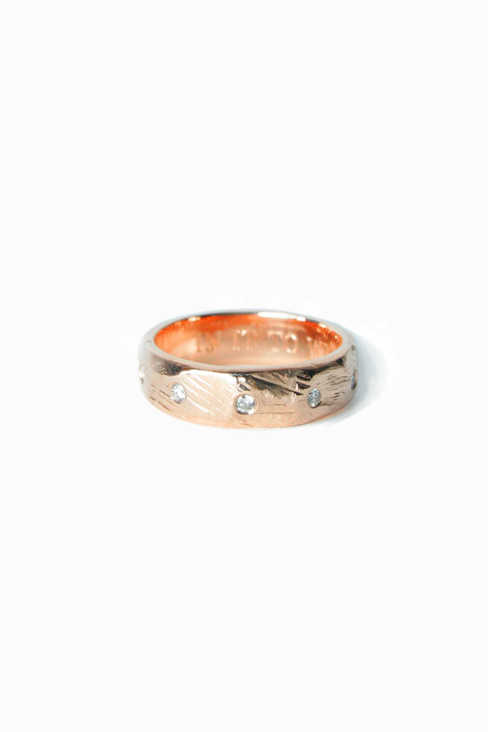 Rose Gold Tundra Wedding Band with Linear White Diamonds