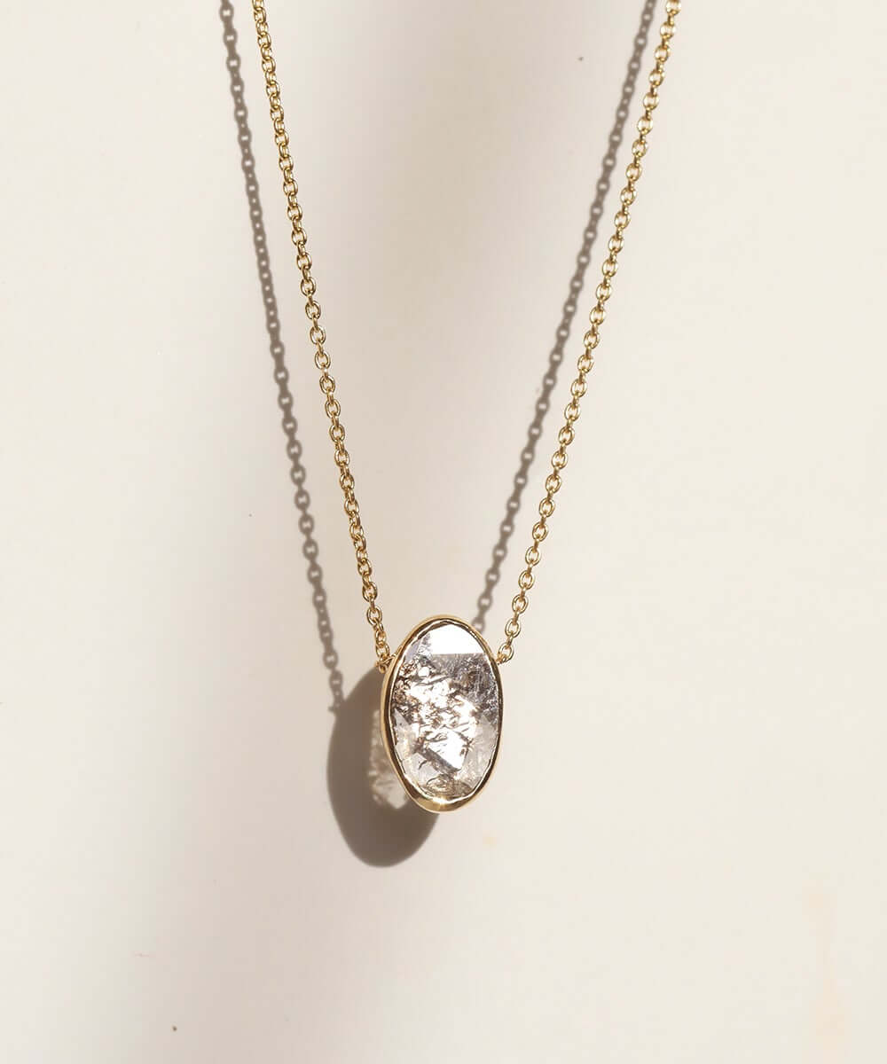 Oval salt & pepper diamond necklace