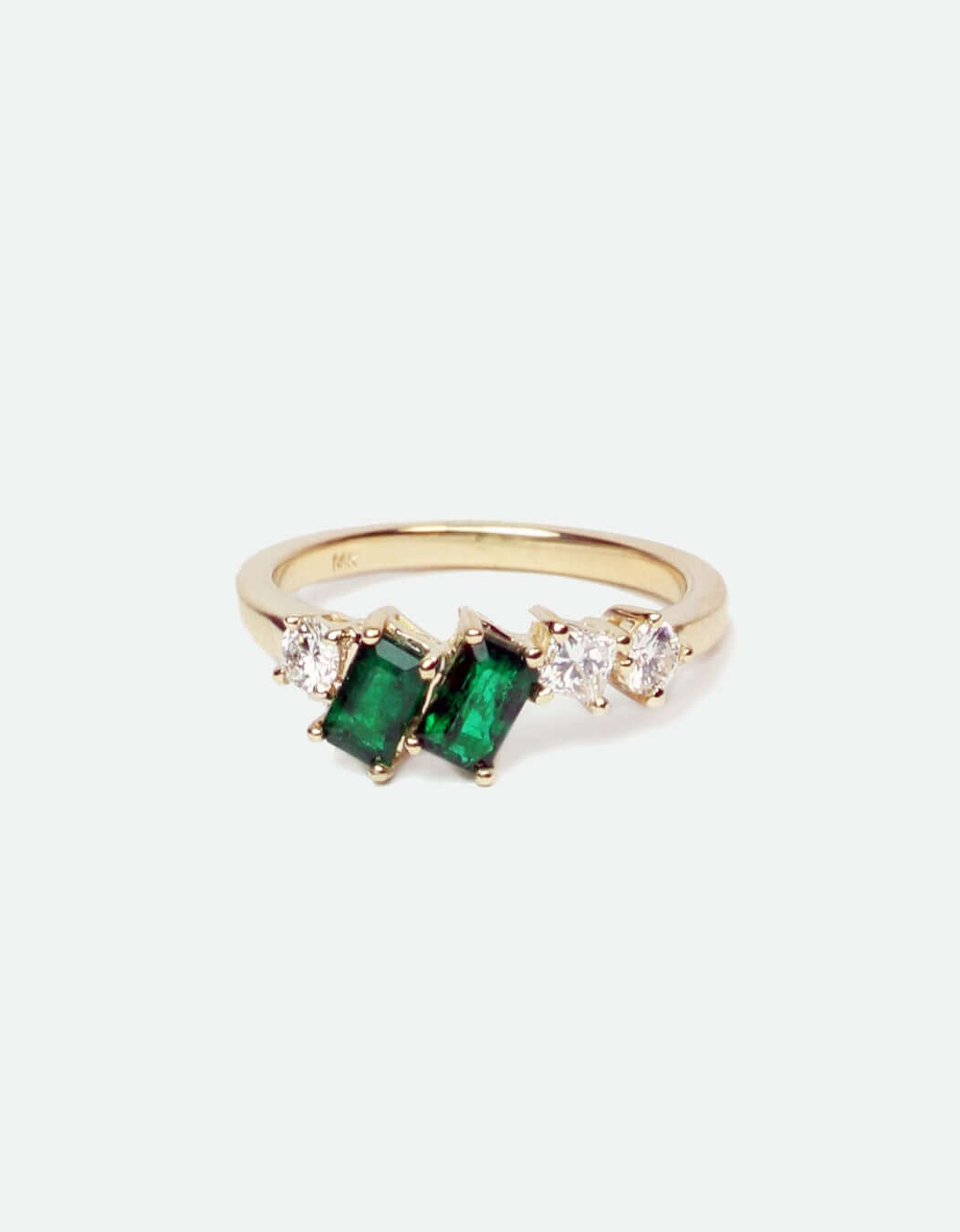 Custom Emerald/Diamond asymmetric ring