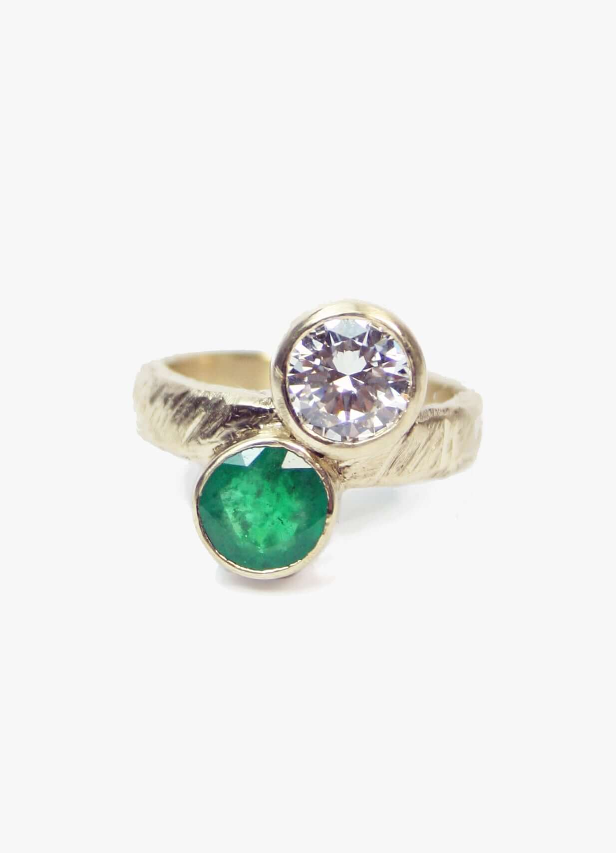 Custom Emerald/Diamond infinity ring