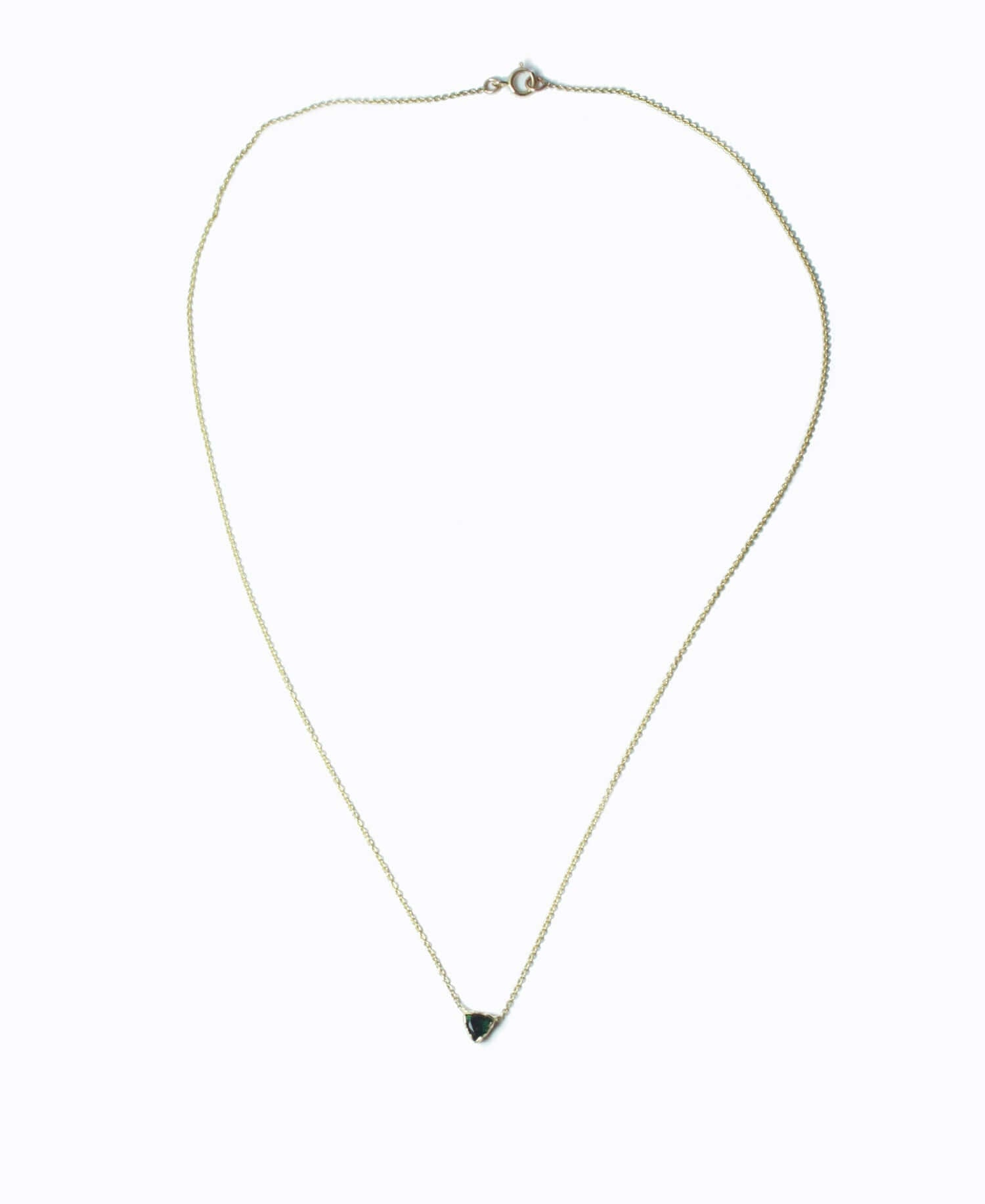 Emerald Trillion Necklace, Necklace, Macha Studio, Brooklyn NYC