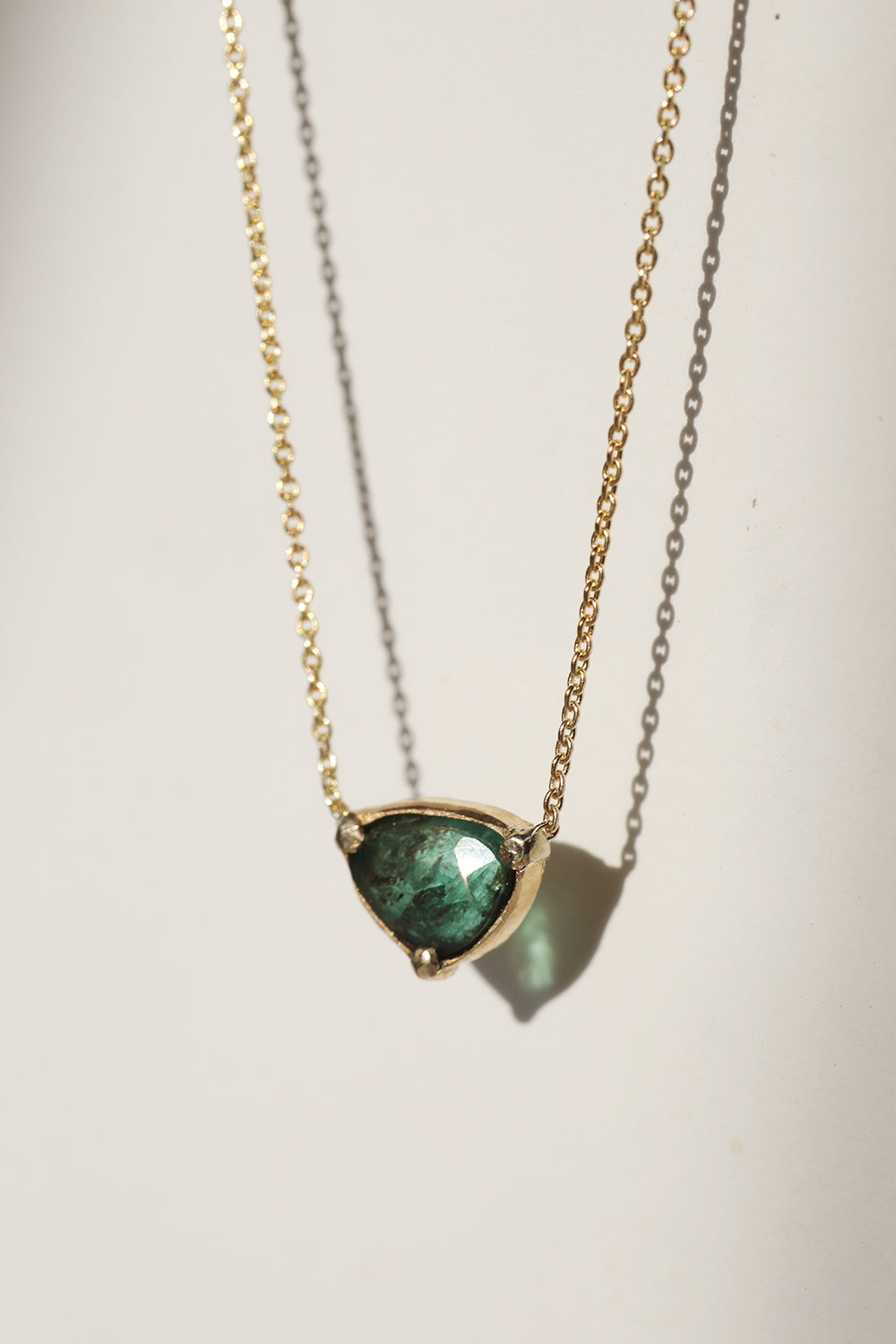 Rose Cut Emerald Shield Necklace Gold