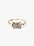 Thin Gold Ring with Large Grey Emerald Cut Diamond Accented with White Trillion Diamonds