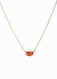 Thin Gold Chain Necklace with Half Moon Shape Orange Sapphire Stone