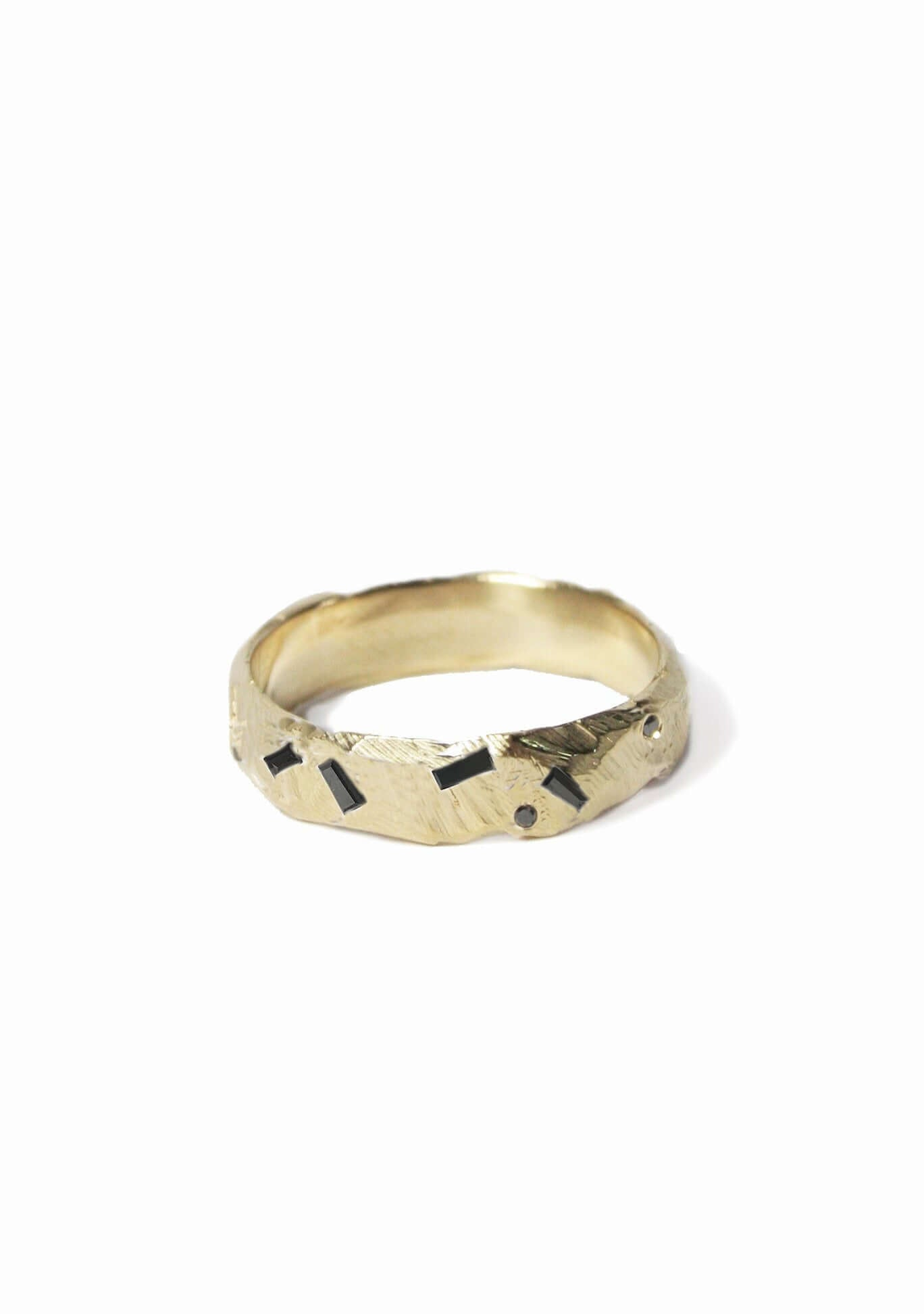 Ragged Wedding Band with diamond baguettes