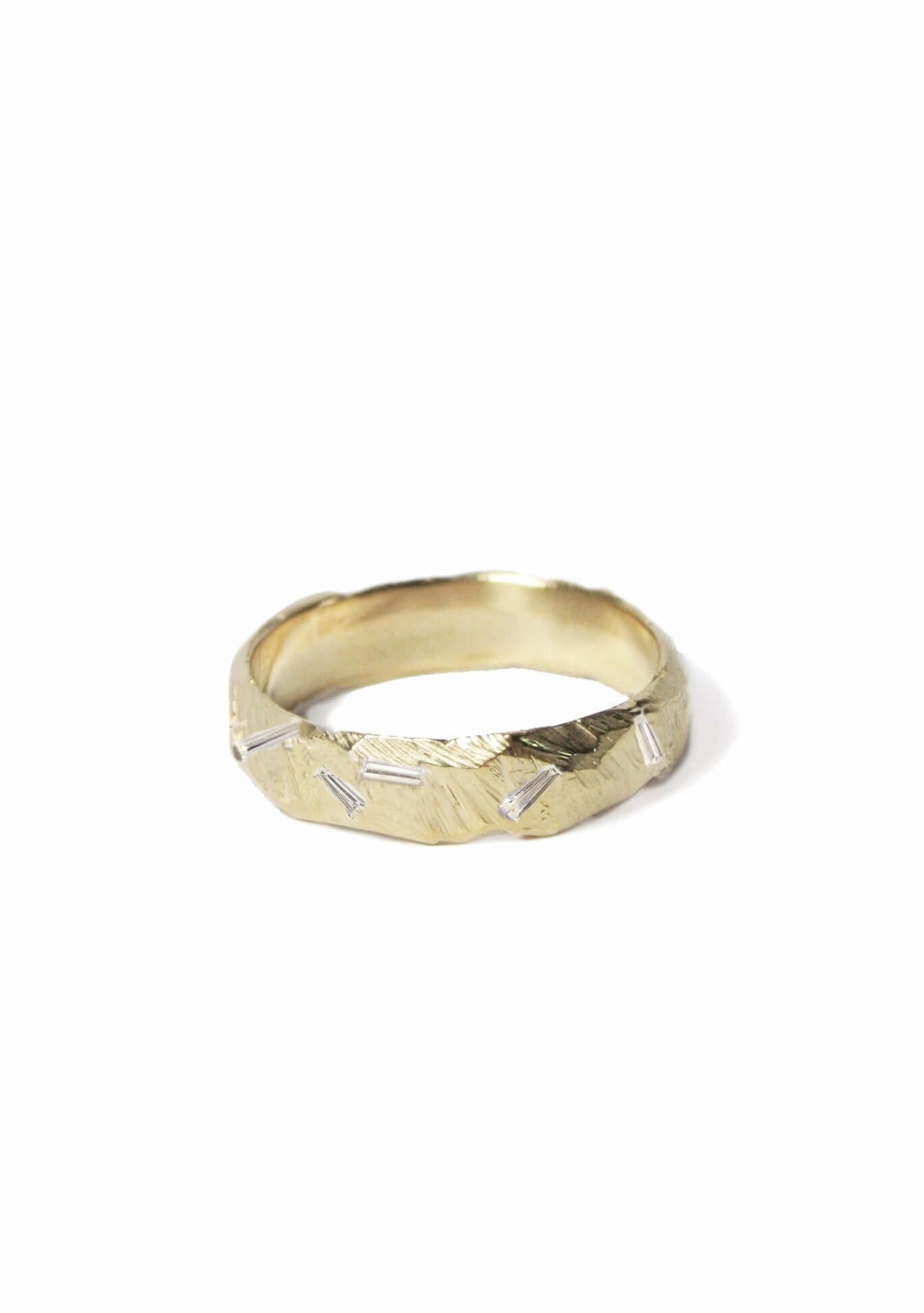 Ragged Wedding Band with tapered diamond baguettes 14k yellow gold
