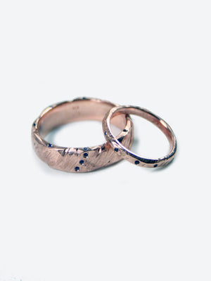 Rose Gold Wedding Bands with Sapphires, Engagement/Wedding, Macha Studio, Brooklyn NYC