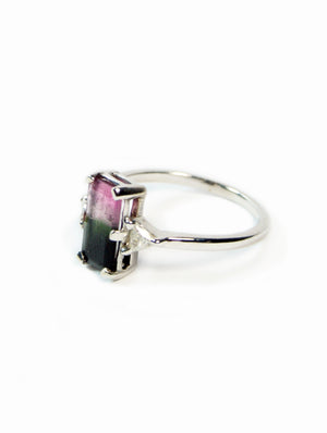 Unique Bi-Color Tourmaline Accented with Two Trillion Shaped Diamonds on a White Gold Band