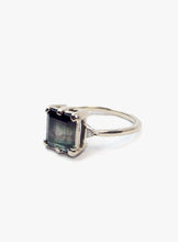 Thin White Gold Ring with Large Grey Princess Cut Green Tourmaline Accented with White Trillion Diamonds