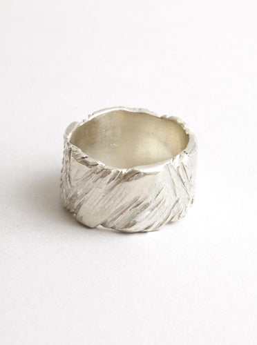 Ragged Band Sterling Silver 10 mm