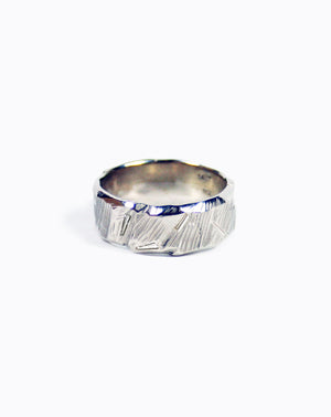 Ragged Wedding Band with tapered diamond baguettes