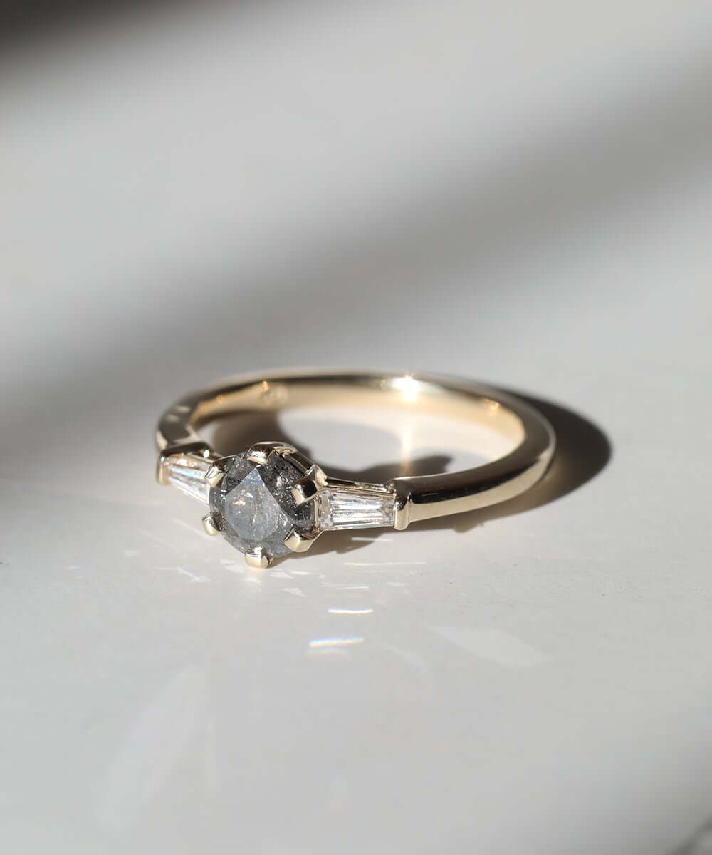 MachaStudio in Greenpoint, Brooklyn, New York specializing in unique handcrafted wedding bands, custom engagement rings, alternative designer jewelry, salt & pepper diamond