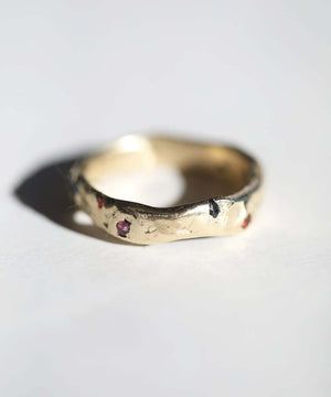 Molten Wedding Band with Sapphires