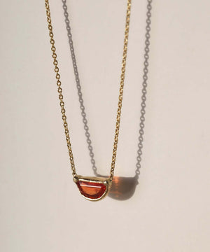 Orange Sapphire Half Moon Necklace