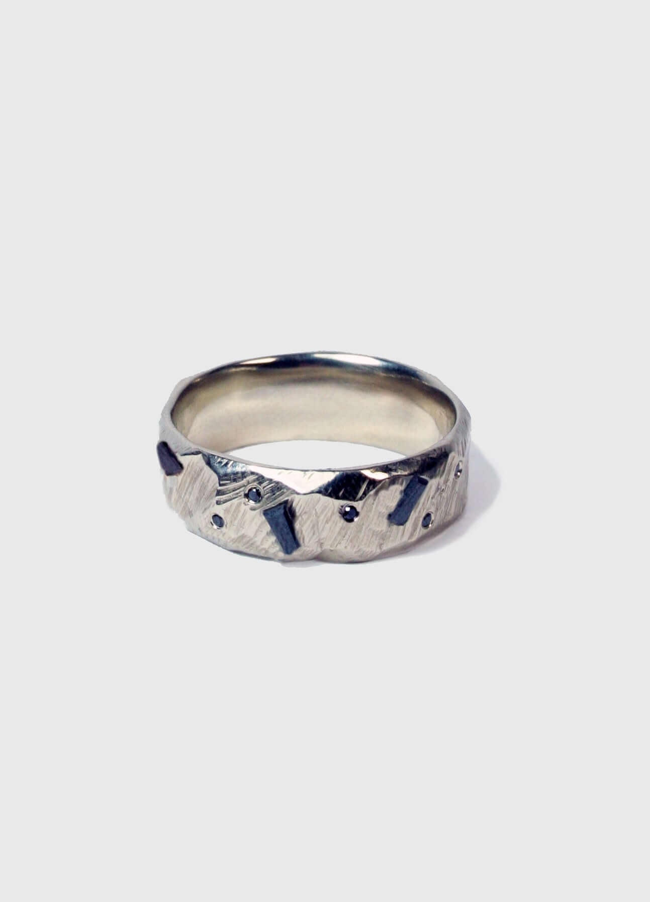 Ragged Wedding Band with black diamond baguettes
