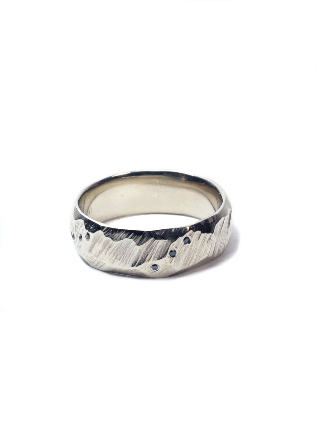 Ragged Wedding Band with black diamonds white gold