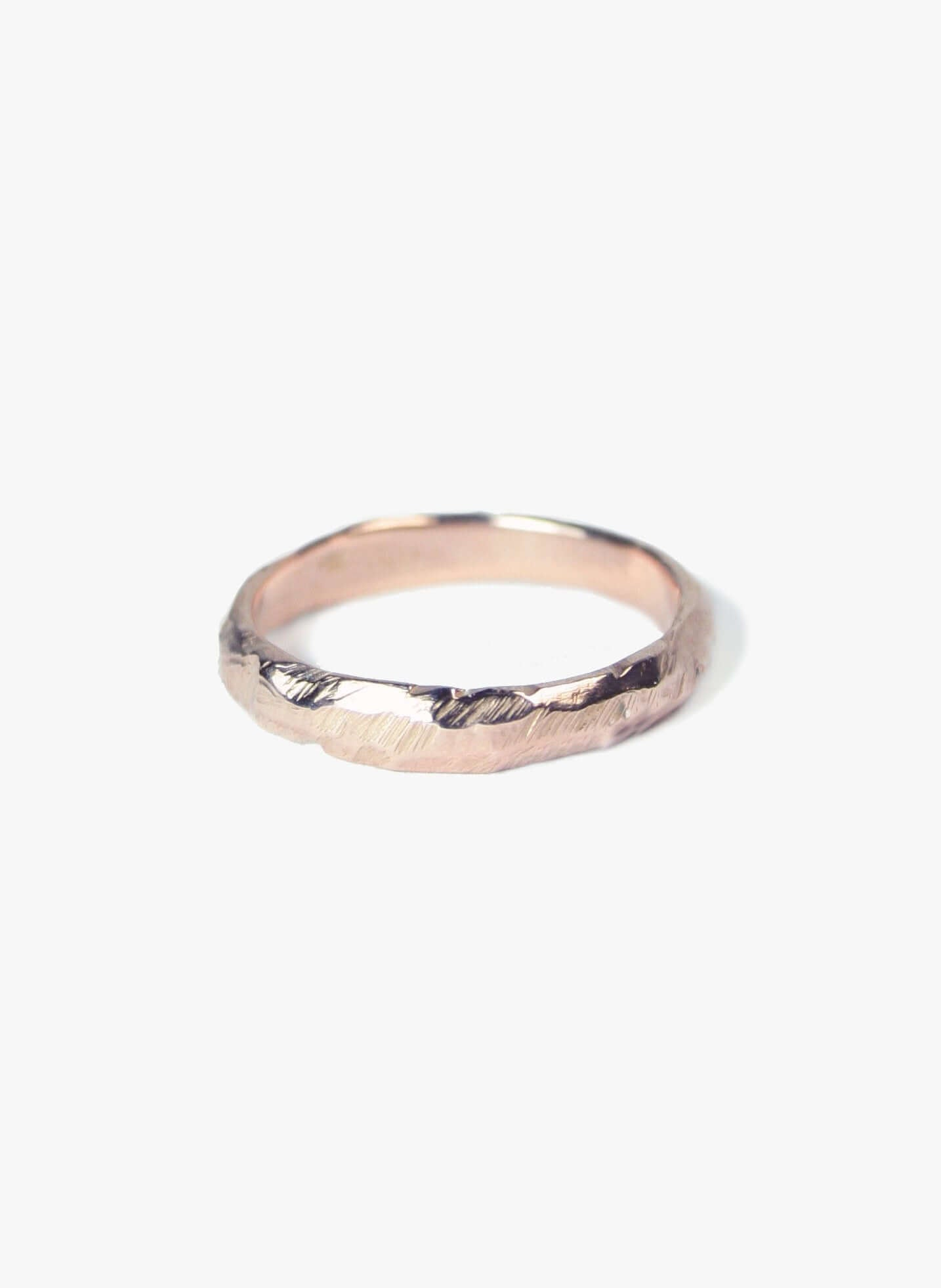 Rose gold ragged wedding band by Macha Brooklyn, NYC