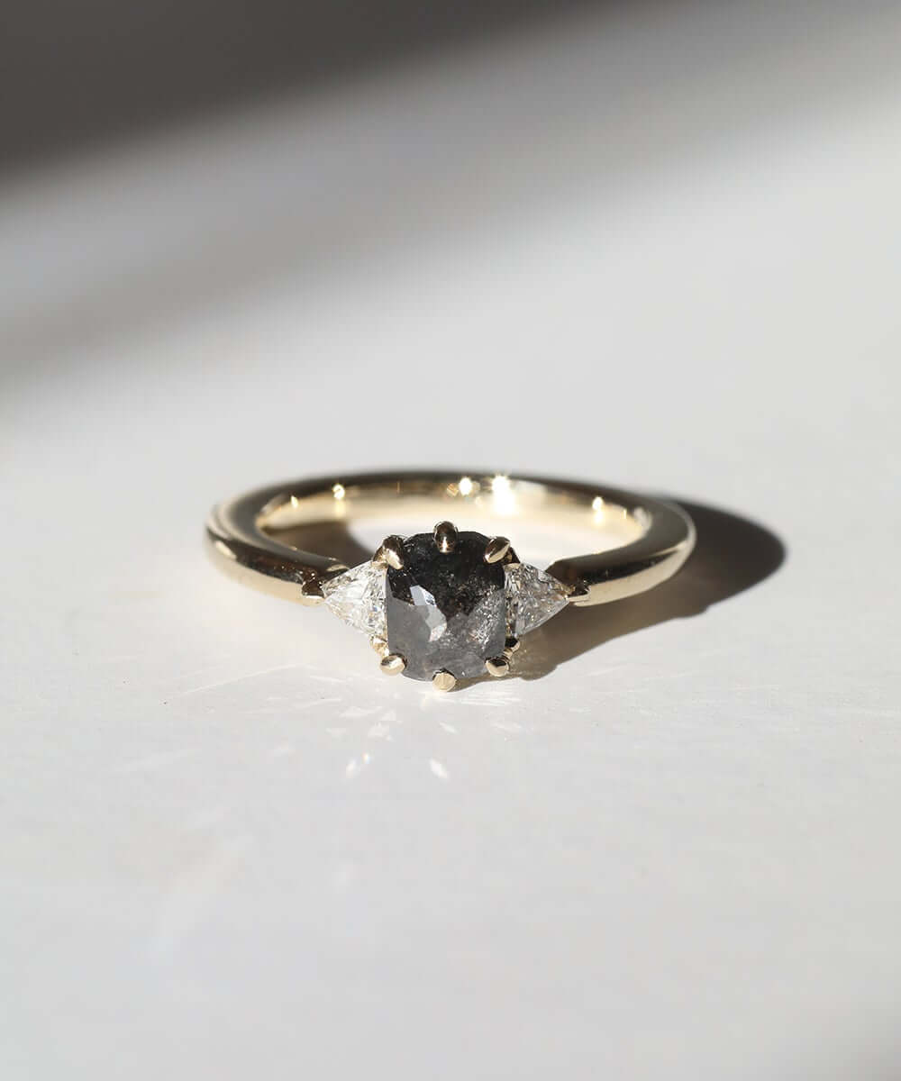 Cushion cut salt & pepper chloe ring