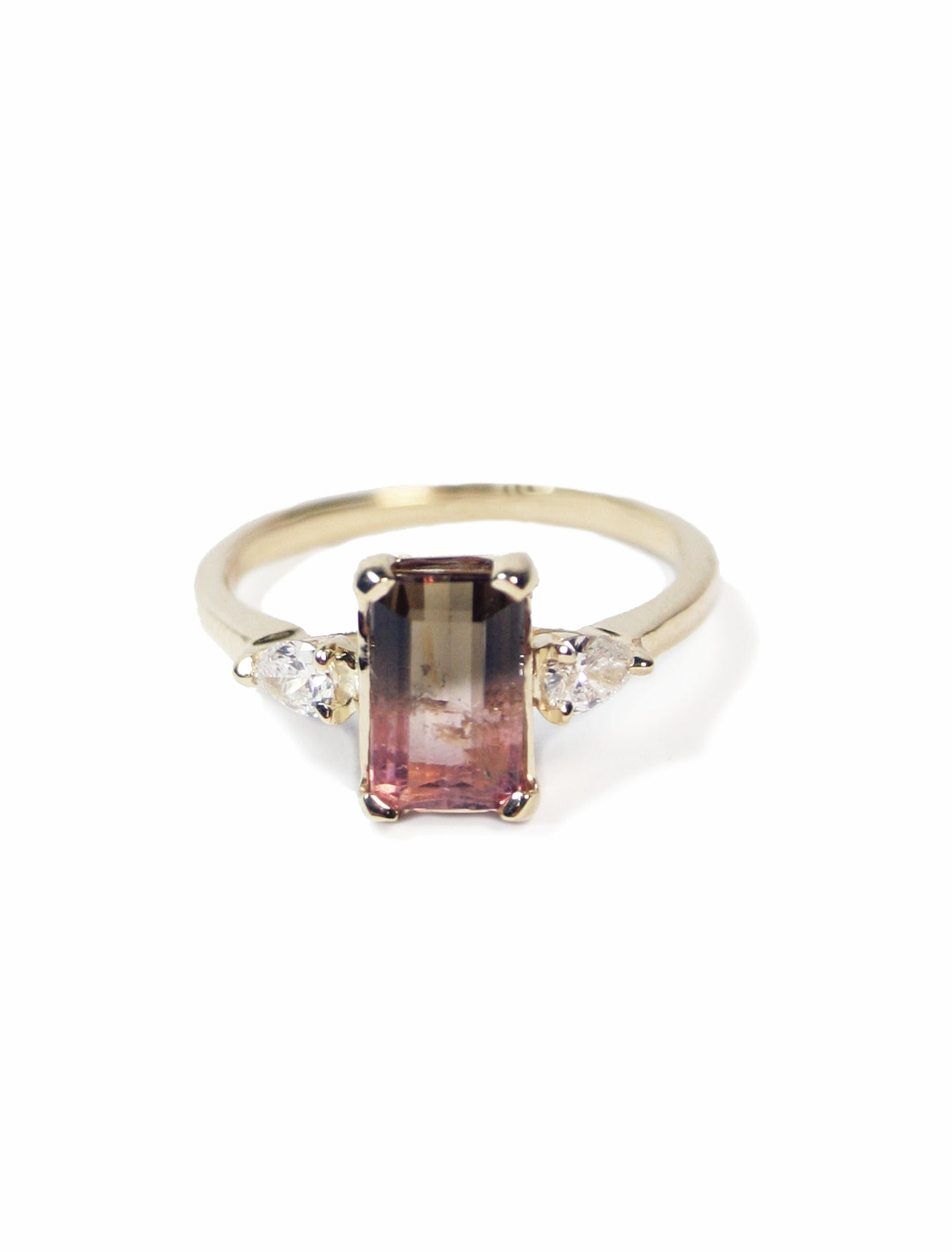 Unique Bi-Color Tourmaline Accented with Two Pear Shaped Diamonds on a Gold Band