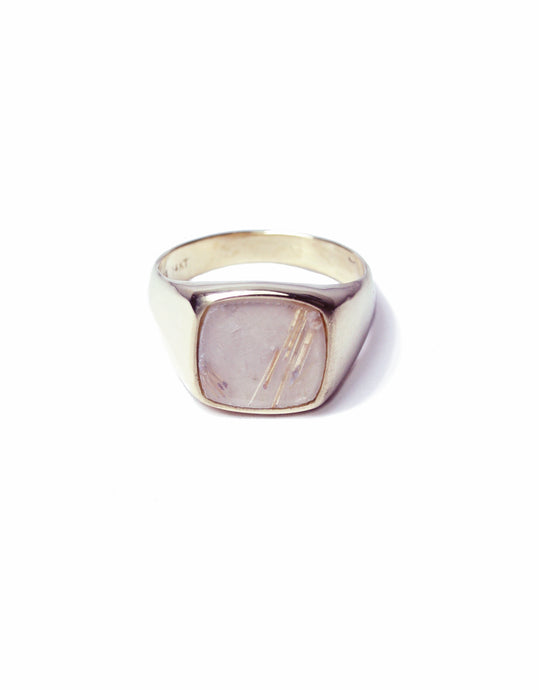 Rutilated Quartz Signet Ring