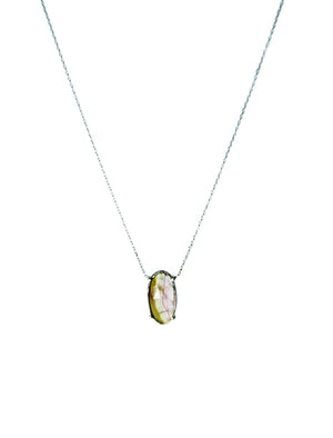 Tourmaline Slice Necklace Gold