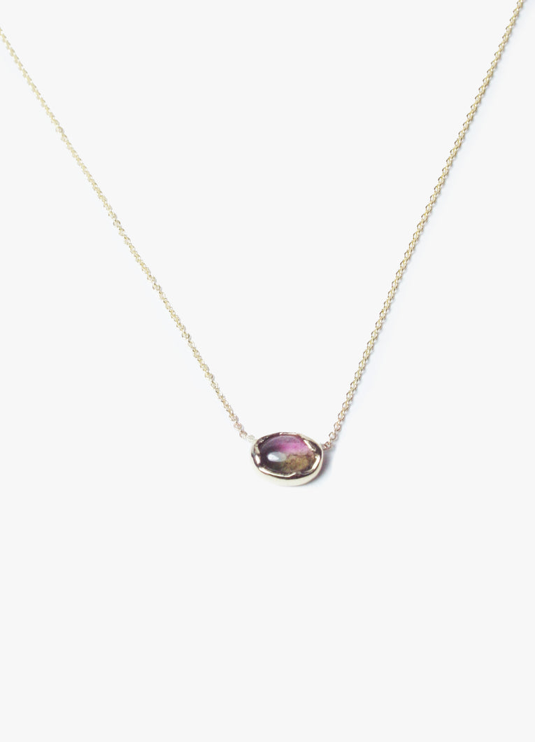 Thin Gold Chain Necklace with Unique Moss and Pink Colored Tourmaline Stone in Bubble Shape