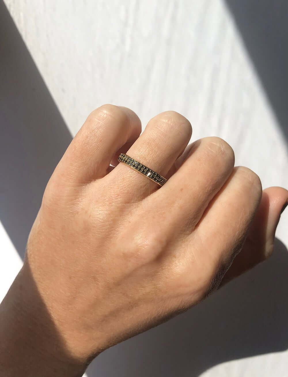 wedding band gold black diamonds macha brooklyn nyc