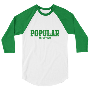 GREEN POPULAR INTROVERT 3/4 sleeve raglan shirt