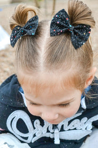 Black Multicolor Glitter Bow
