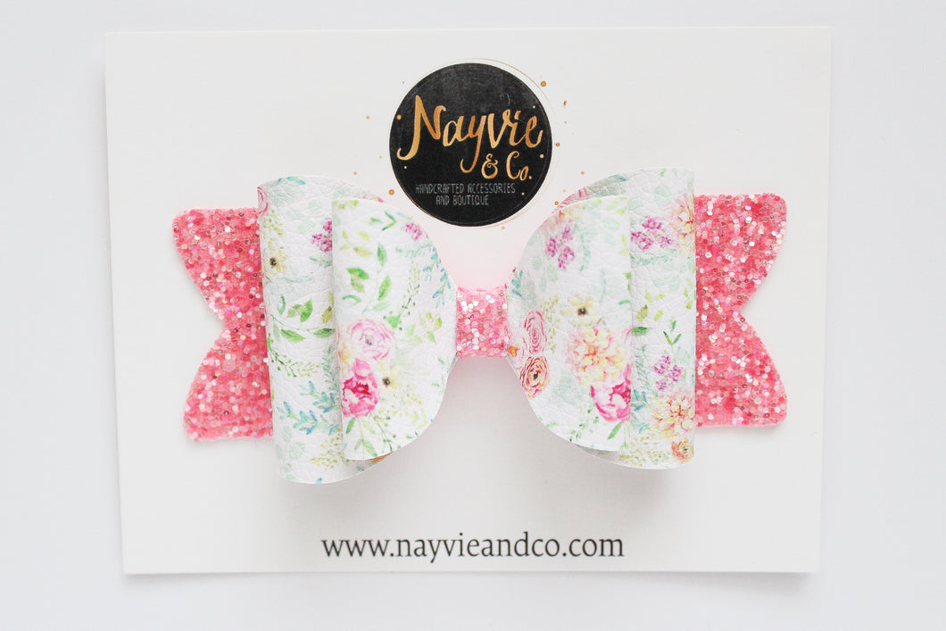 White Floral Emmy Bow