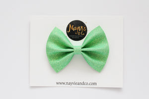 Green Apple Glitter Felt Bow