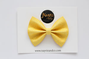 Yellow Glitter Felt Bow