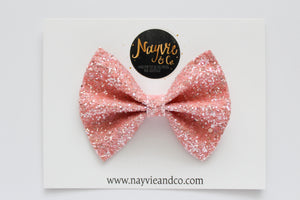 Coral Sherbet Glitter Bow