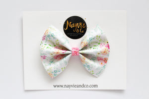 White Spring Floral Faux Leather Bow