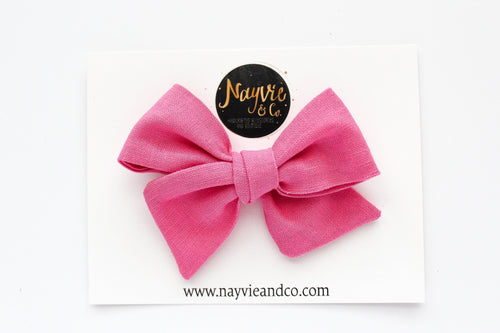Hot Pink Linen Hand-tied Bow