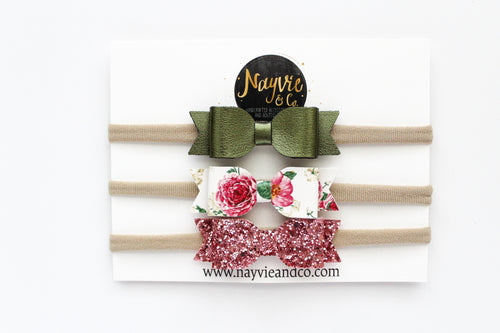 Olive, Blush and Floral Finley Bow Set