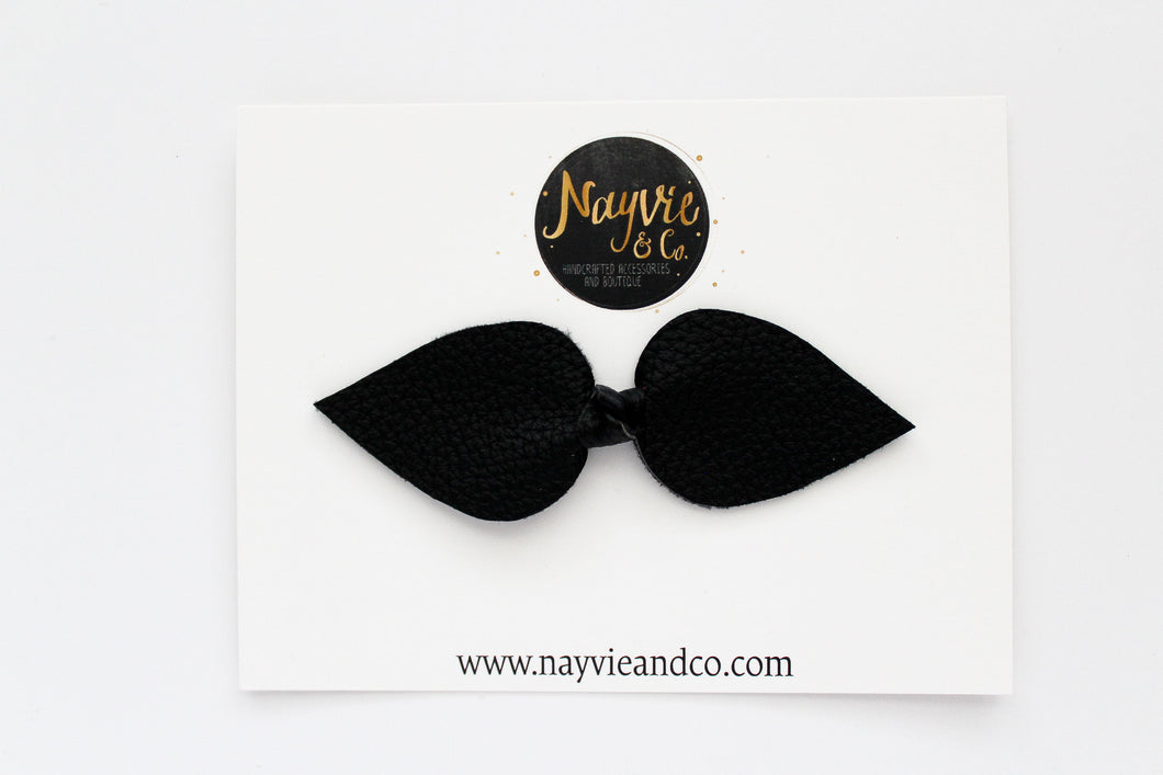 Black Knotted Faux Leather Bow