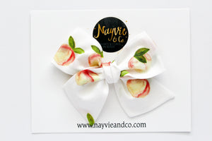 Watercolor Peaches Hand Tied Bow